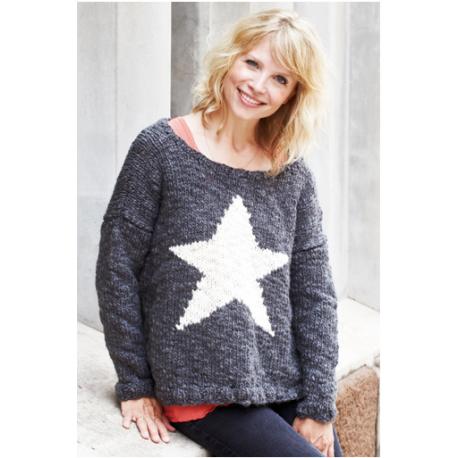 Oversize sweater med stjernemønster 893115