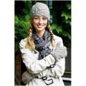 Hue med muslinge-mønster + vanter i Evita 893123