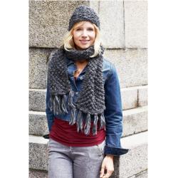 Hue  + halstørklæde i brombærmønster 893121