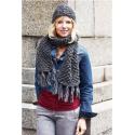 Hue  + halstørklæde i brombærmønster i Evita 893121