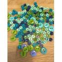 Dukketøjsknapper, grøn/blå nuancer
